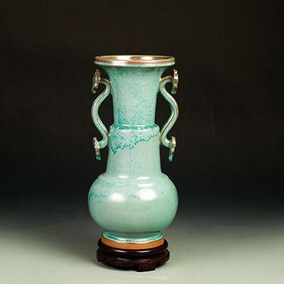 钧瓷竹节如意瓶-柴烧价格-孙新要竹节如意瓶-柴烧