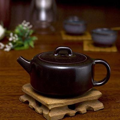 圆满壶 茗钧堂圆满壶-茶叶末釉