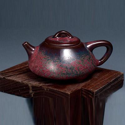 钧瓷石瓢壶-温红远价格-红远钧窑石瓢壶-温红远