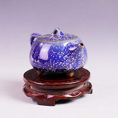 三足壶-温红远大师精品窑变金斑釉三足壶