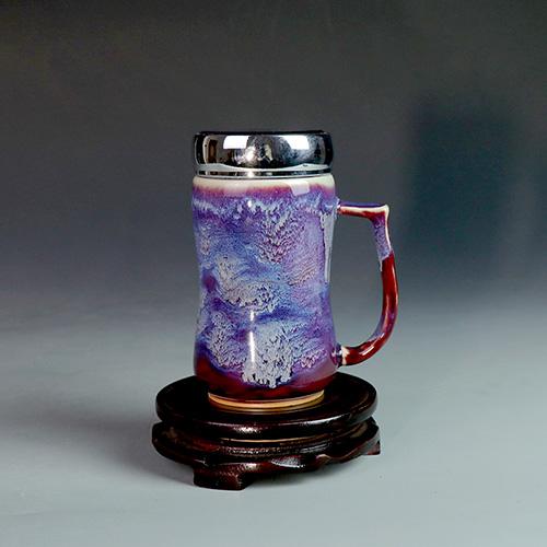 钧瓷养生活水杯/随手礼侧把杯/办公茶杯