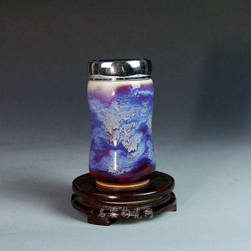 钧瓷侧把养生活水杯,美观而又实用