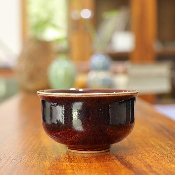 中国传统工艺大师王现锋煤烧单杯撇口杯