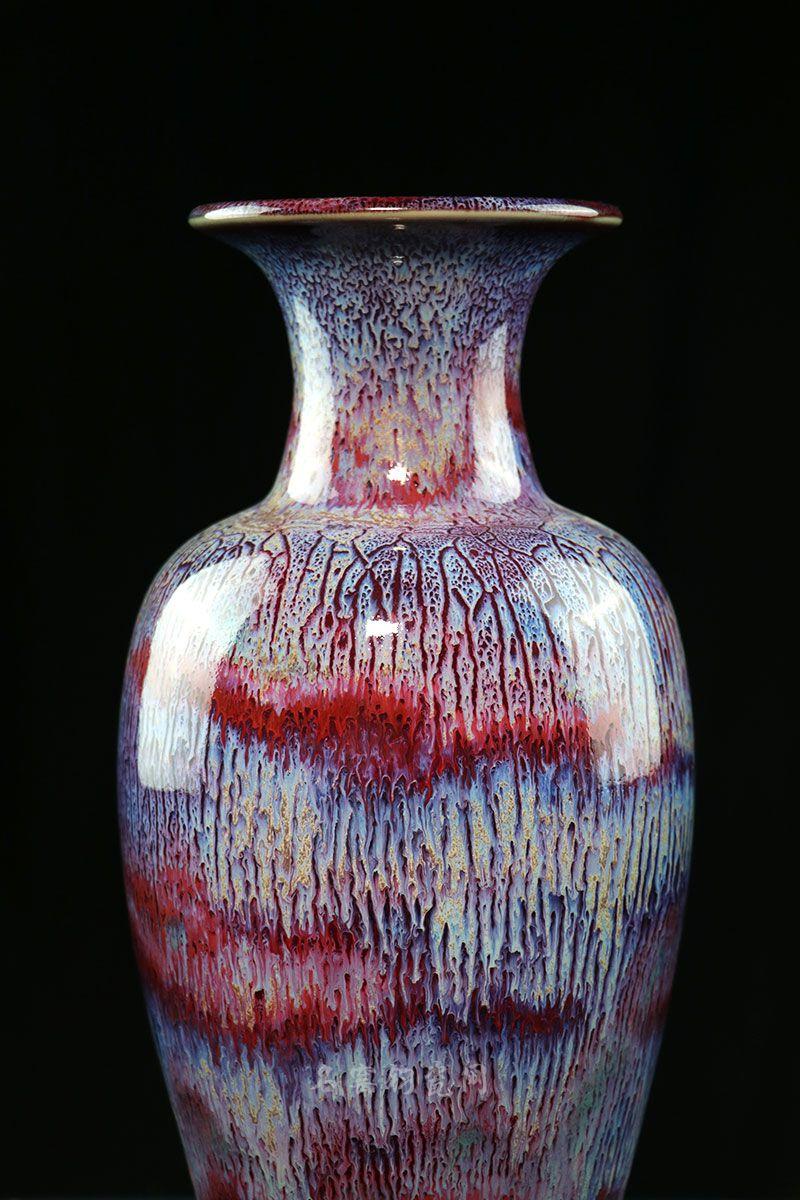 钧瓷观音瓶,窑变层层叠叠,立体感十足