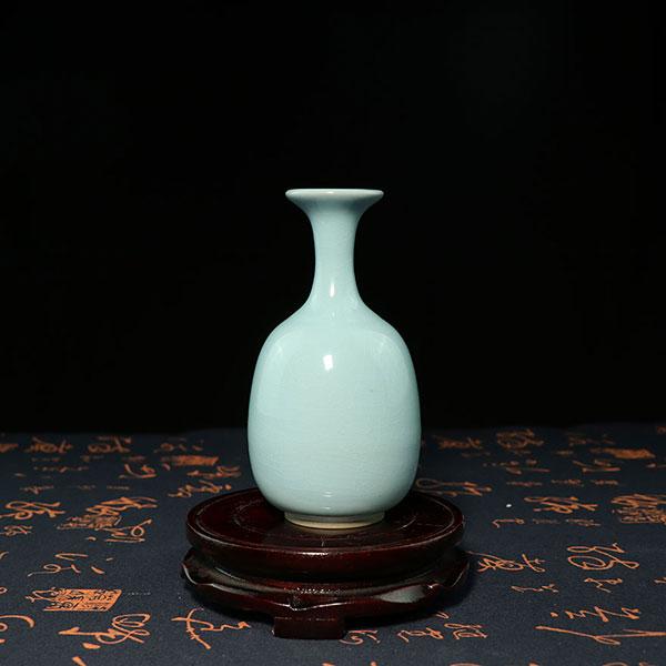 纸槌瓶-仿汝窑天青色纸槌瓶/小花器/小花插