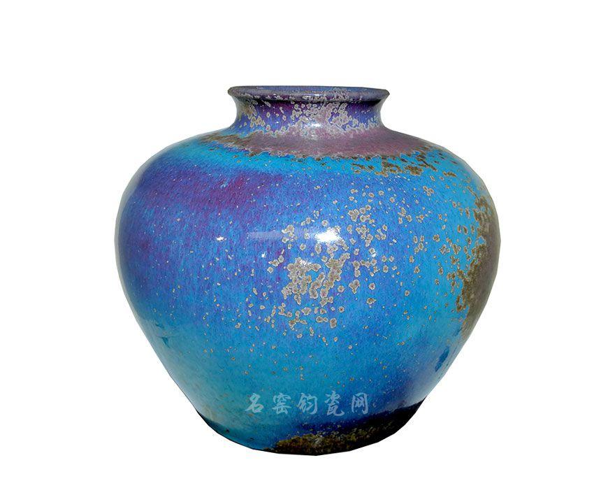 钧瓷罐,纯手工拉坯,炭烧炉钧工艺