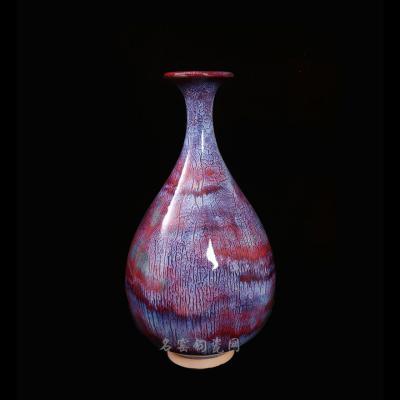 精品自然窑变花釉玉壶春瓶带蚯蚓走泥纹