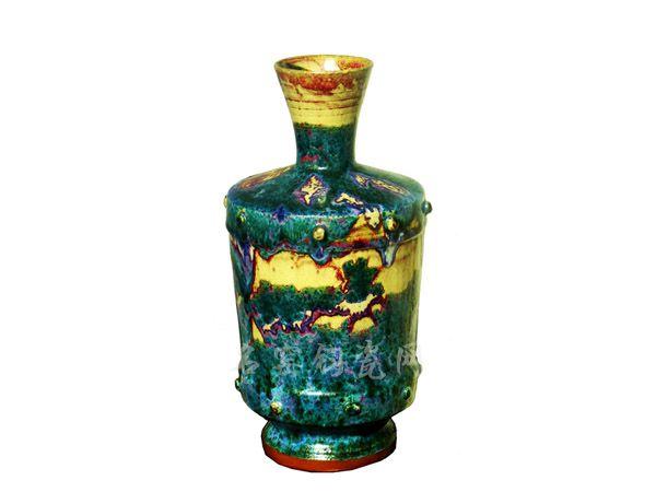王金合钧瓷作品金斑荷口瓶