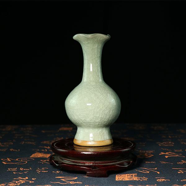 冰裂荷口瓶-冰裂纹全开片荷口小花瓶/花插/花器