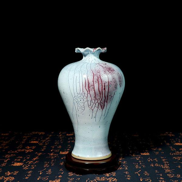 荷韵瓶-蚯蚓走泥纹艺术窑变荷口梅瓶