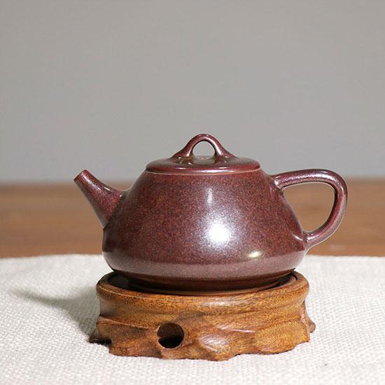 石瓢壶-茗钧堂白胜利精品茶叶末釉/乌金釉石瓢壶
