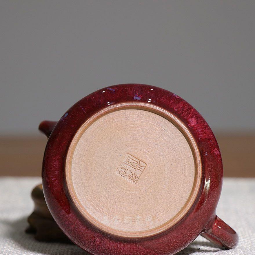 石瓢壶 茗钧堂窑变石榴红釉石瓢壶精品 钧瓷石瓢壶价格【名窑钧瓷网】