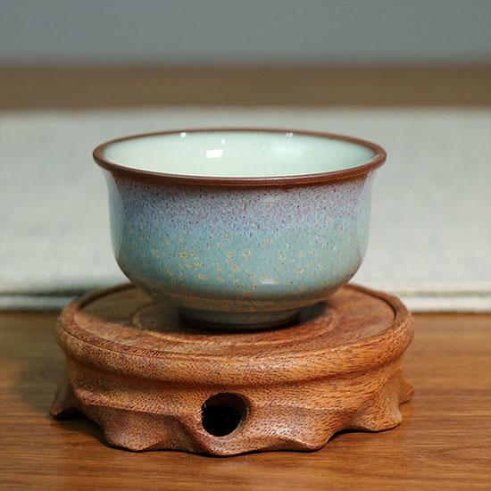 压手杯-炉钧釉金斑压手杯/三味瓷屋手工品茗杯