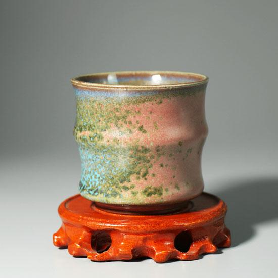竹节杯-省陶瓷艺术大师孙新要传统柴烧手工竹节杯