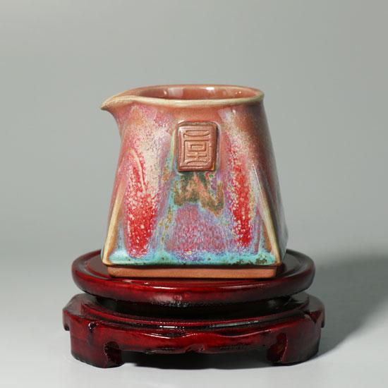 公道杯(分茶器)-李朝斐精品炉钧釉四方公道杯