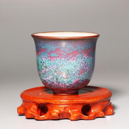 河南省陶瓷艺术大师温红远手工炉钧铃铛杯/金铃杯