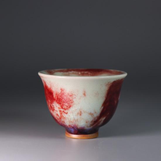 煤烧钧瓷精品茶具手拉坯金铃杯