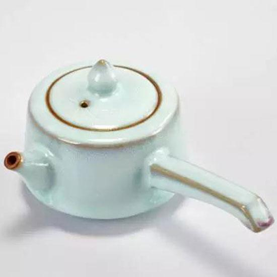 侧把壶-大宋官窑钧瓷茶具侧把壶/月白釉/天青色
