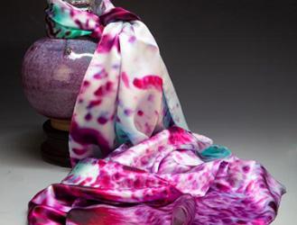 创意钧瓷窑变色彩创作的丝巾,漂亮到不能想象