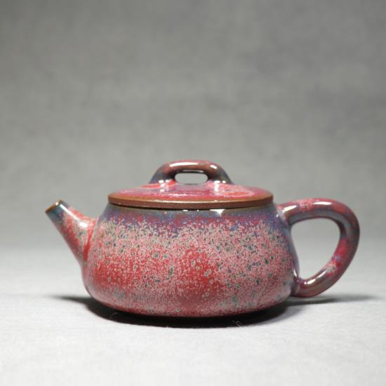 广口石瓢壶-钧瓷壶王温红远精品手签名炉钧釉广口石瓢壶