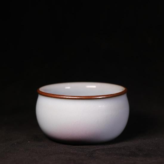 钧瓷精品支钉烧月白釉罗汉杯/主人杯