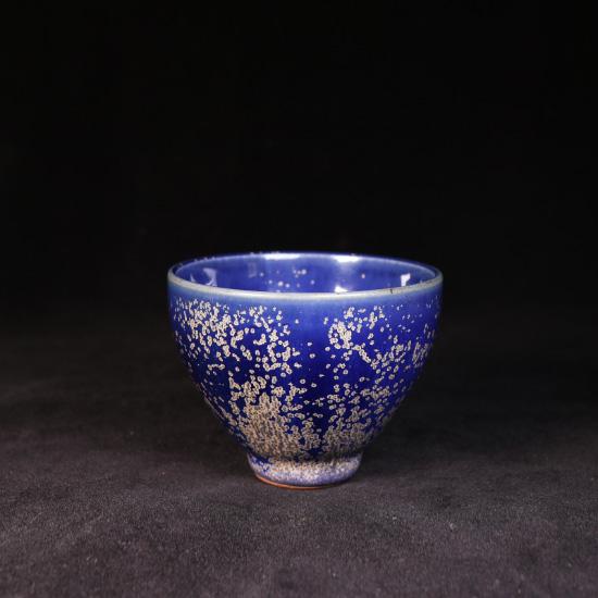 温红远精品金斑蓝釉鸡心杯/钧瓷茶具