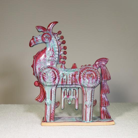 韩美林大师设计钧瓷工艺作品美林马