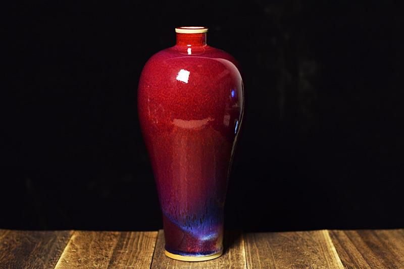 梅瓶 中国工艺美术大师任星航手拉坯钧瓷梅瓶 钧瓷梅瓶价格【名窑钧瓷网】