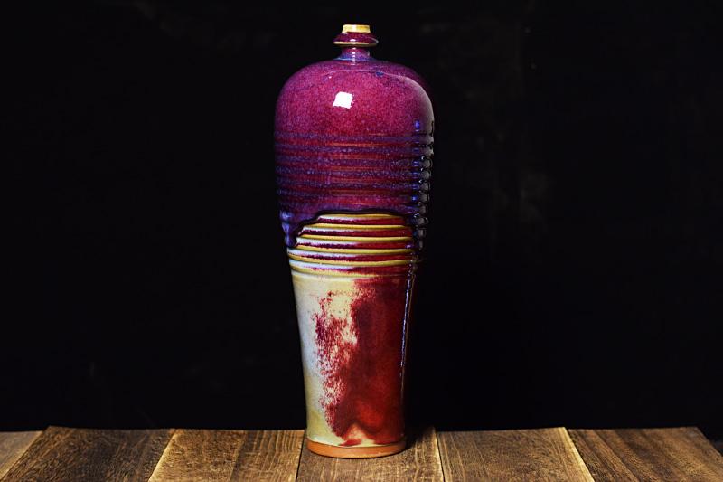 长寿瓶 中国工艺美术大师杨志手拉坯钧瓷长寿瓶 钧瓷长寿瓶价格【名窑钧瓷网】
