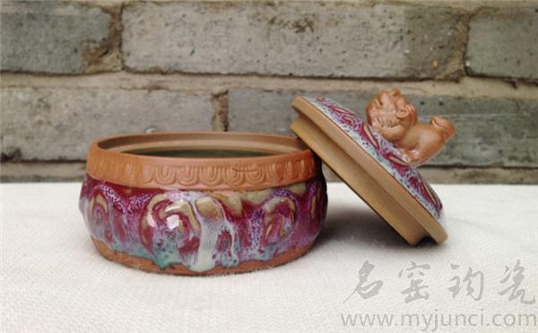 禹州钧瓷狮首茶叶罐