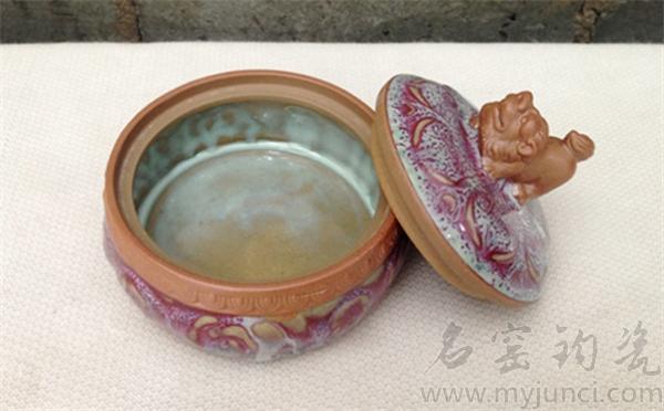 中国钧瓷狮首茶叶罐