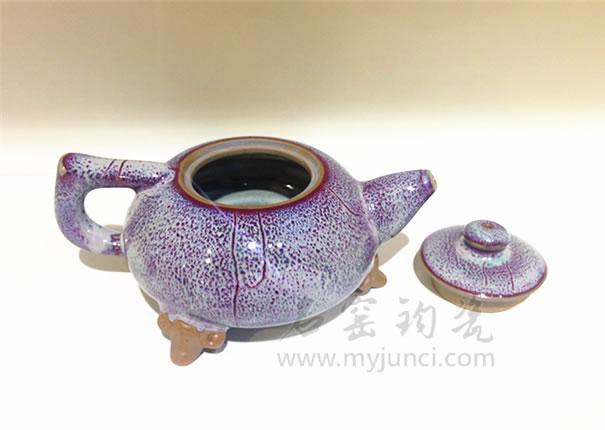 瓷茶具-三足茶壶-名窑钧瓷网