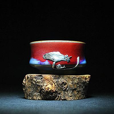 红远钧窑锔瓷-锔银品茗杯单杯-纯手工制作