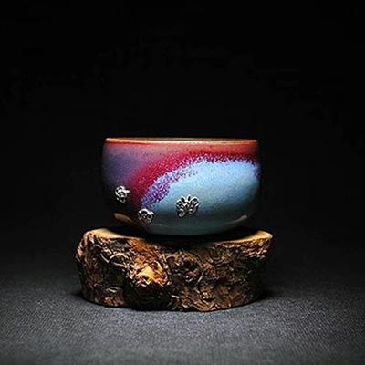 钧瓷锔瓷-钧瓷茶杯-锔银工艺价格-红远钧窑锔瓷-钧瓷茶杯-锔银工艺