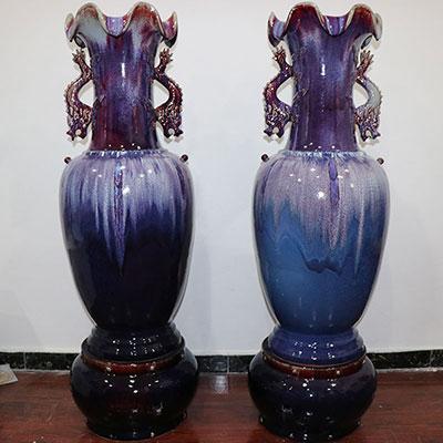 二龙戏珠瓶-昌盛钧窑双龙戏珠钧瓷大花瓶/大厅大堂玄关摆件