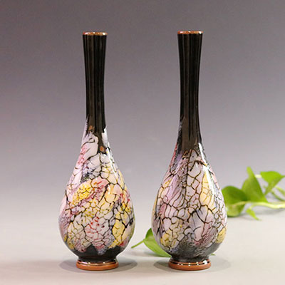 王现锋大师五彩石釉柳叶瓶花器/花插