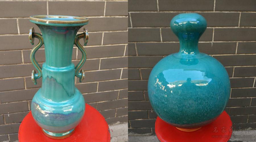 竹节如意瓶(左)和天球瓶(右)-钧宝坊孙新要柴烧钧瓷作品