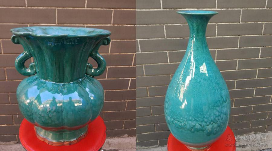 葵花尊(左)和玉壶春瓶(右)-钧宝坊孙新要柴烧钧瓷作品