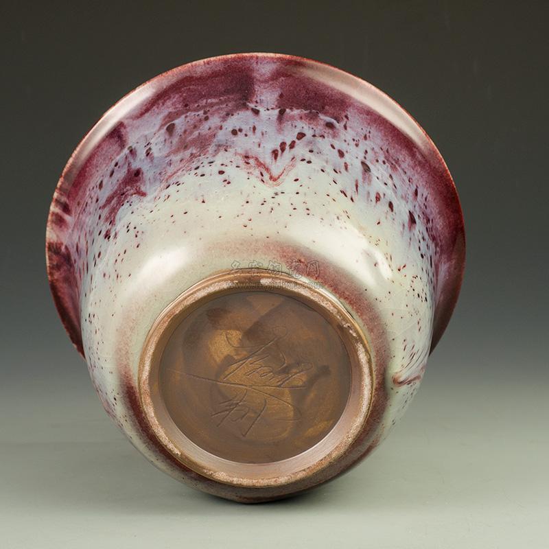 钧瓷仰钟钵-杨文杰大师传统煤窑烧制,纯手工拉坯仰钟钵