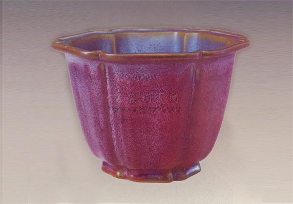 十大宋代传世钧瓷-宋钧窑:玫瑰紫釉葵花式花盆