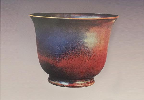宋代传世钧瓷鉴赏-玫瑰紫釉仰钟式花盆