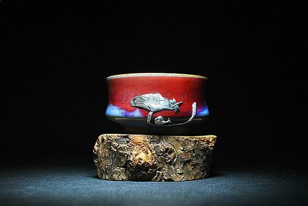 锯瓷工艺,钧瓷茶杯,温红远手拉坯单杯