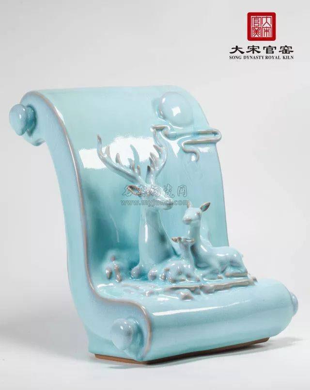 大宋官窑中秋作品——《鹿憩画卷秋月明》
