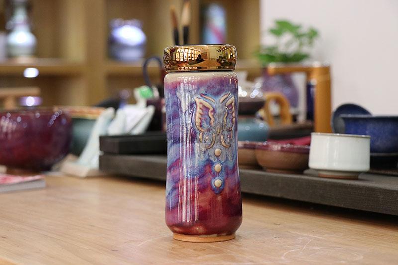 钧瓷养生活水杯-蝴蝶杯